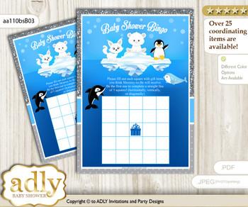 Printable Blue Silver Arctic Bingo Game Printable Card for Baby Boy Shower DIY grey, Blue Silver, Winter