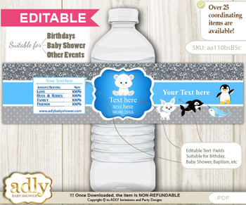 DIY Text Editable Boy Arctic Water Bottle Label, Personalizable Wrapper Digital File, print at home for any event