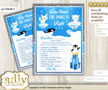 Printable Boy Arctic Price is Right Game Card for Baby Arctic Shower, Blue Silver, Winter