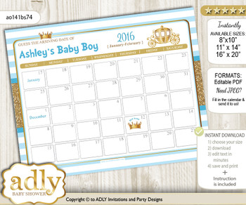 DIY Prince Carriage Baby Due Date Calendar, guess baby arrival date game