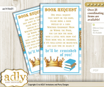 Request a Book Instead of a Card for Prince Carriage Baby Shower or Birthday, Printable Book DIY Tickets, Royal, blue gold
