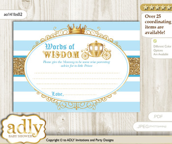 blue gold Prince Carriage Words of Wisdom or an Advice Printable Card for Baby Shower, Royal