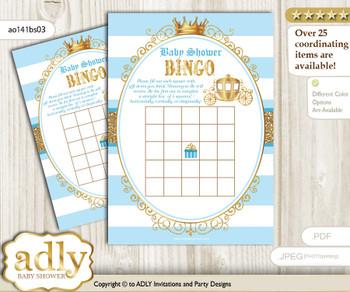 Printable blue gold Carriage Bingo Game Printable Card for Baby Prince Shower DIY grey, blue gold, Royal