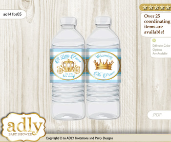 Prince Carriage Water Bottle Wrappers, Labels for a Carriage  Baby Shower, blue gold, Royal