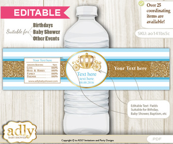 DIY Text Editable Prince Carriage Water Bottle Label, Personalizable Wrapper Digital File, print at home for any event