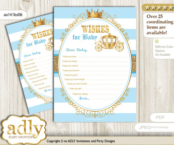 Prince Carriage Wishes for a Baby, Well Wishes for a Little Carriage Printable Card, Royal, blue gold