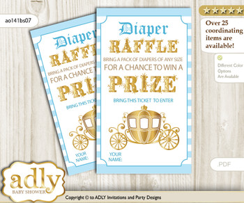 Prince Carriage Diaper Raffle Printable Tickets for Baby Shower, blue gold, Royal