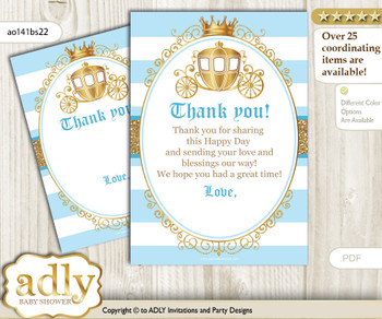 Prince  Carriage Thank you Cards for a Baby Prince Shower or Birthday DIY blue gold, Royal