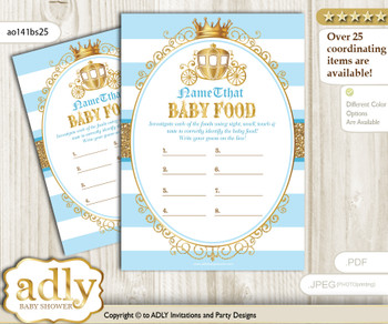 Prince Carriage Guess Baby Food Game or Name That Baby Food Game for a Baby Shower, blue gold Royal