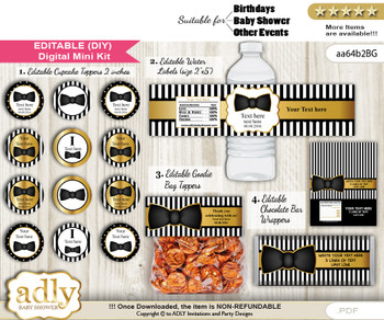 DIY Text Editable Boy Bow Tie Baby Shower, Birthday digital package, kit-cupcake, goodie bag toppers, water labels, chocolate bar wrappers vn