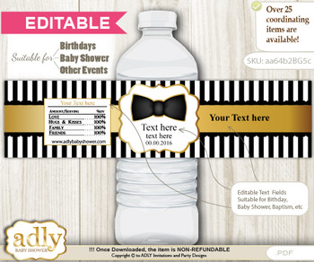 DIY Text Editable Boy Bow Tie Water Bottle Label, Personalizable Wrapper Digital File, print at home for any event  nm