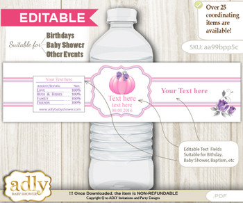 DIY Text Editable Girl Pumpkin Water Bottle Label, Personalizable Wrapper Digital File, print at home for any event  nm