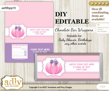 DIY Personalizable Girl Pumpkin Chocolate Bar Candy Wrapper Label for Girl  baby shower, birthday Pink , editable wrappers