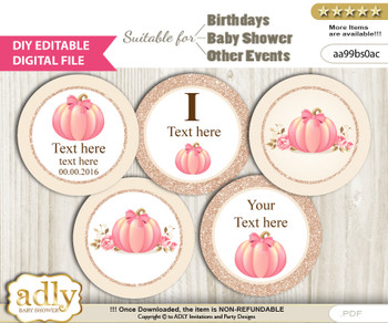 DIY Text Editable Girl Pumpkin Cupcake Toppers Digital File, print at home, suitable for birthday, baby shower, baptism cv