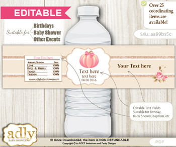 DIY Text Editable Girl Pumpkin Water Bottle Label, Personalizable Wrapper Digital File, print at home for any event  cv
