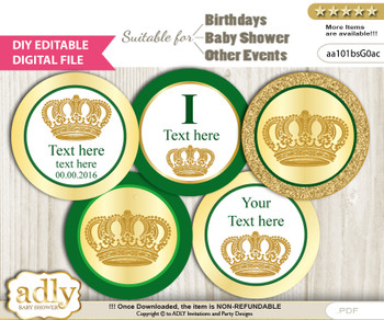DIY Text Editable Prince Royal Cupcake Toppers Digital File, print at home, suitable for birthday, baby shower, baptism  z