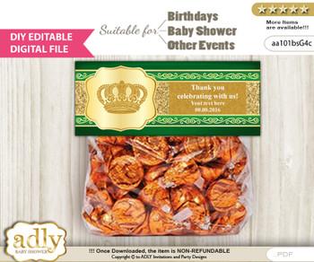 DIY Text Editable Prince Royal Goodie  Treat Bag Toppers, Favor Bag Digital File, print at home  z