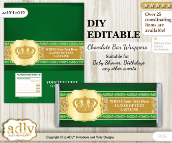DIY Personalizable Prince Royal Chocolate Bar Candy Wrapper Label for Prince  baby shower, birthday Green Gold , editable wrappers z