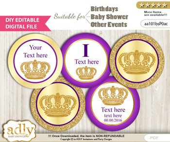 DIY Text Editable Royal Prince Cupcake Toppers Digital File, print at home, suitable for birthday, baby shower, baptism x