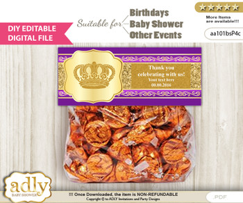 DIY Text Editable Royal Prince Goodie  Treat Bag Toppers, Favor Bag Digital File, print at home  x
