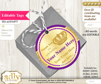 Royal Prince Thank You Tags, Circle Favor Tags Personalizable for Shower, Birthday x