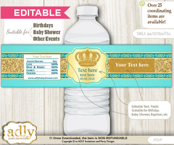 DIY Text Editable Prince Royal Water Bottle Label, Personalizable Wrapper Digital File, print at home for any event  g