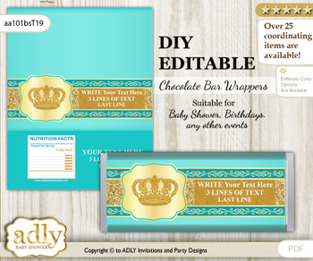 DIY Personalizable Prince Royal Chocolate Bar Candy Wrapper Label for Prince  baby shower, birthday Aqua , editable wrappers g