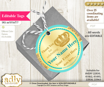 Prince Royal Thank You Tags, Circle Favor Tags Personalizable for Shower, Birthday g