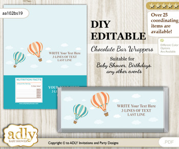 DIY Personalizable Neutral Air Balloon Chocolate Bar Candy Wrapper Label for Neutral  baby shower, birthday Coral Teal , editable wrappers