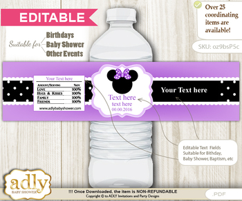 DIY Text Editable Minnie Mouse Water Bottle Label, Personalizable Wrapper Digital File, print at home for any event  b