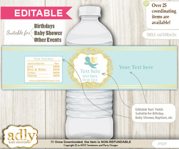 DIY Text Editable Boy Angel Water Bottle Label, Personalizable Wrapper Digital File, print at home for any event  v
