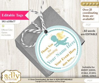 Boy Angel Thank You Tags, Circle Favor Tags Personalizable for Shower, Birthday v