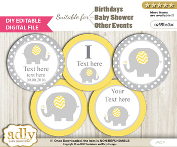 DIY Text Editable Neutral Elephant Cupcake Toppers Digital File, print at home, suitable for birthday, baby shower, baptism
