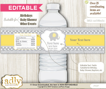 DIY Text Editable Neutral Elephant Water Bottle Label, Personalizable Wrapper Digital File, print at home for any event
