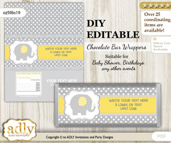 DIY Personalizable Neutral Elephant Chocolate Bar Candy Wrapper Label for Neutral  baby shower, birthday Yellow Grey , editable wrappers