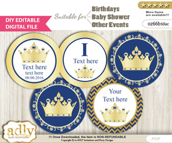 DIY Text Editable Crown Prince Cupcake Toppers Digital File, print at home, suitable for birthday, baby shower, baptism v