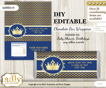 DIY Personalizable Crown Prince Chocolate Bar Candy Wrapper Label for Crown  baby shower, birthday Gold Blue , editable wrappers v