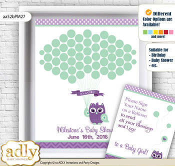 Girl Owl  Guest Book Alternative for a Baby Shower, Creative Nursery Wall Art Gift, Purple Green, Mint