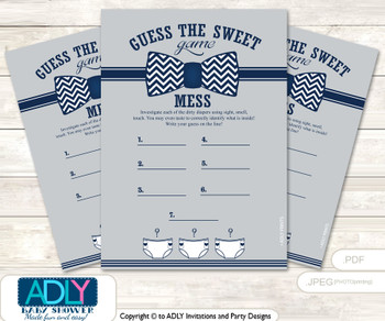 Lil Man Bow TieDirty Diaper Game or Guess Sweet Mess Game for a Baby Shower  grey bku,  Chevron