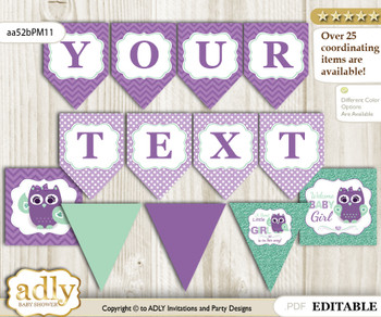 DIY Personalizable Girl Owl  Printable Banner for Baby Shower, Purple Green, Mint