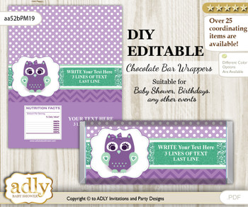 DIY Personalizable Girl Owl  Chocolate Bar Candy Wrapper Label for Girl  baby shower, birthday Purple Green , editable wrappers