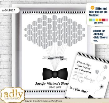 Boy Bow Tie Guest Book Alternative for a Baby Shower, Creative Nursery Wall Art Gift, Black Silver, Little Man