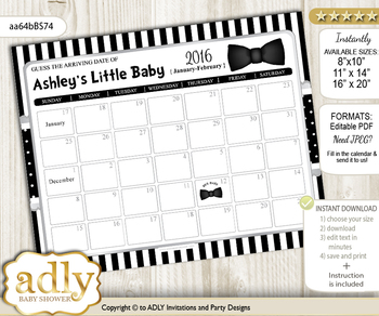 DIY Boy Bow Tie Baby Due Date Calendar, guess baby arrival date game vn
