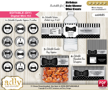 DIY Text Editable Boy Bow Tie Baby Shower, Birthday digital package, kit-cupcake, goodie bag toppers, water labels, chocolate bar wrappers vm