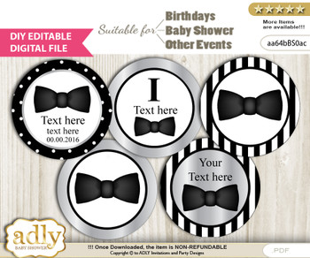 DIY Text Editable Boy Bow Tie Cupcake Toppers Digital File, print at home, suitable for birthday, baby shower, baptism vm