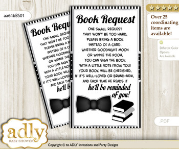 Request a Book Instead of a Card for Boy Bow Tie Baby Shower or Birthday, Printable Book DIY Tickets, Little Man, Black Silver vm