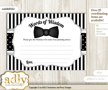 Black Silver Boy Bow Tie Words of Wisdom or an Advice Printable Card for Baby Shower, Little Man vm