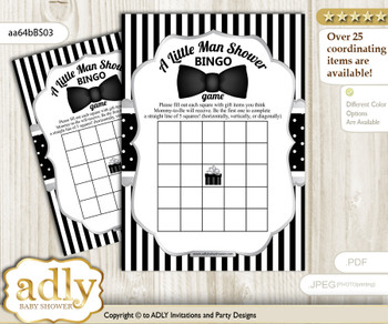 Printable Black Silver Bow Tie Bingo Game Printable Card for Baby Boy Shower DIY grey, Black Silver, Little Man vm