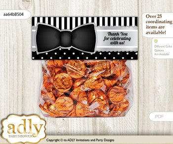 Printable Boy Bow Tie Treat or Goodie bag Toppers for Baby Boy Shower or Birthday DIY Black Silver, Little Man