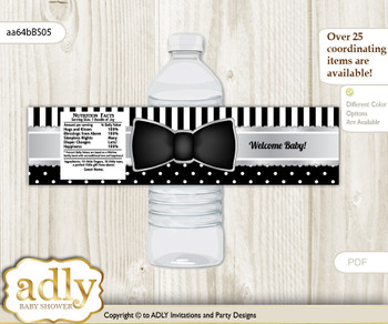 Boy Bow Tie Water Bottle Wrappers, Labels for a Bow Tie  Baby Shower, Black Silver, Little Man